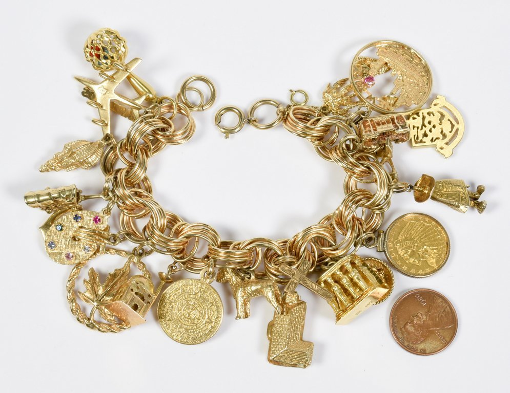 Gold Charm Bracelet, 94.4 grams, 22 charms