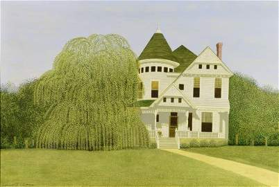 Carroll Cloar Acrylic on Board, Weeping Willow