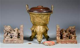 Chinese Dragon Bangle Bronze Censer  Bookends