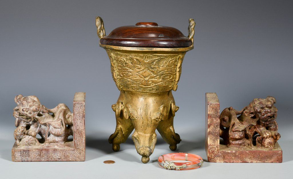 Chinese Dragon Bangle, Bronze Censer & Bookends