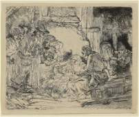 """Rembrandt Etching """"Adoration of the Shepherds"""""""