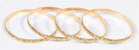Set 4 Vintage 18K Bangle Bracelets