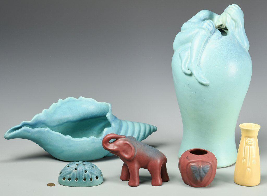 6 pcs Art Pottery, Van Briggle & Rookwood