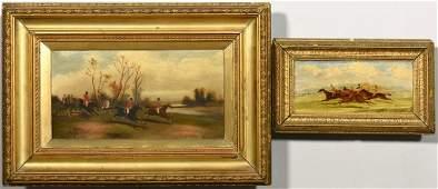 2 English Fox Hunt, Racing Paintings, 19th century