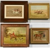 4 19th century English Paintings Horses  Fox Hunting