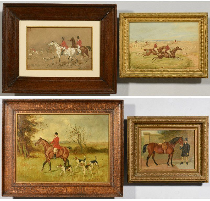 4 19th century English Paintings, Horses & Fox Hunting