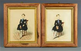 Pair of Watercolor Portraits of Seated Children