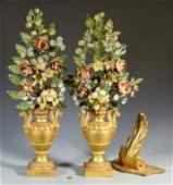 Pr. Gilt Wood & Painted Tole Table Ornaments