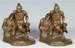 Pair Bronze-clad Bookends, Native American