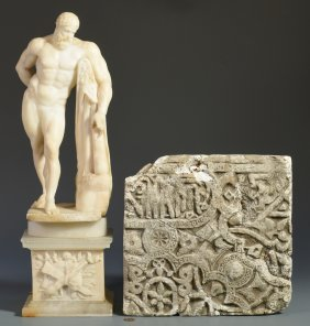 Hercules Figure & 2 Architectural Fragments