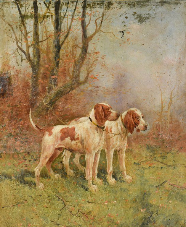 English Pointers Oil on Canvas