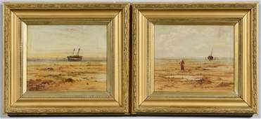 Pair English Coastal Seascape Scenes