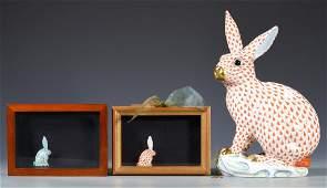 Large Herend Rabbit Figure w/ 2 Rabbit Miniatures