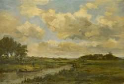 European Oil on Canvas River Landscape