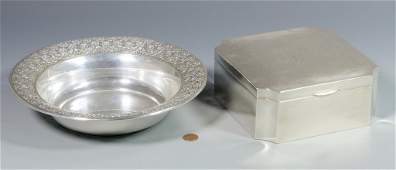 Wallace Sterling Pierced Bowl & Engraved Box