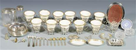 47 pcs Assorted Silver incl Demitasse Cups