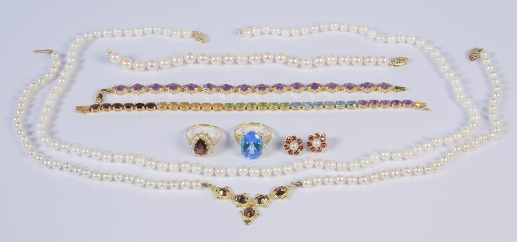 14K Semi-precious plus Pearl Jewelry, 8 items