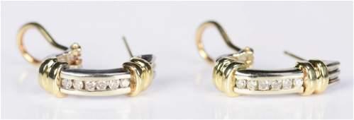 Diamond 14K Two-tone Gold Hoops