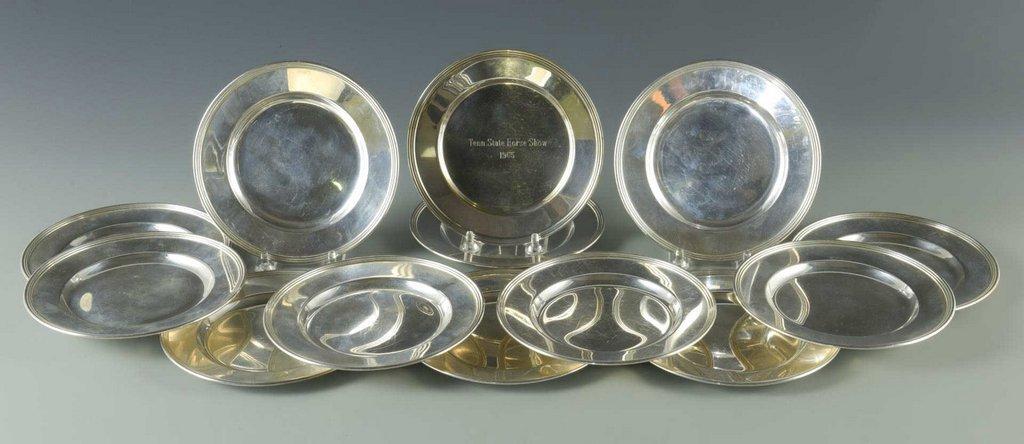 12 Sterling Bread Plates plus 1 trophy plate