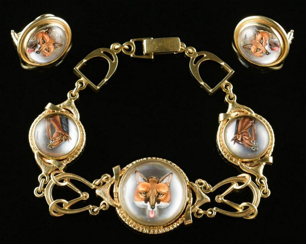 Set 14K  Essex Crystal Equestrian Jewelry