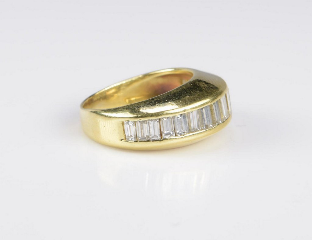 18K Diamond Baguette Dome Ring