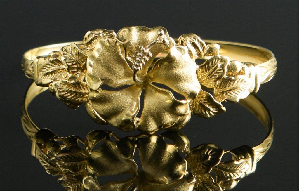 14K Hibiscus Bangle Bracelet