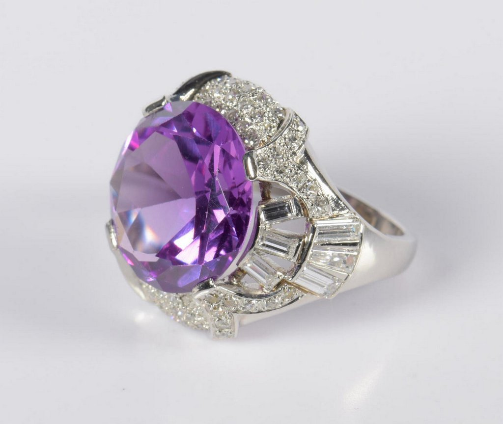Vintage Platinum and Dia Ring Mounting w/ purple stone