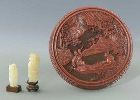 2 White Jade Figures, Cinnabar Box