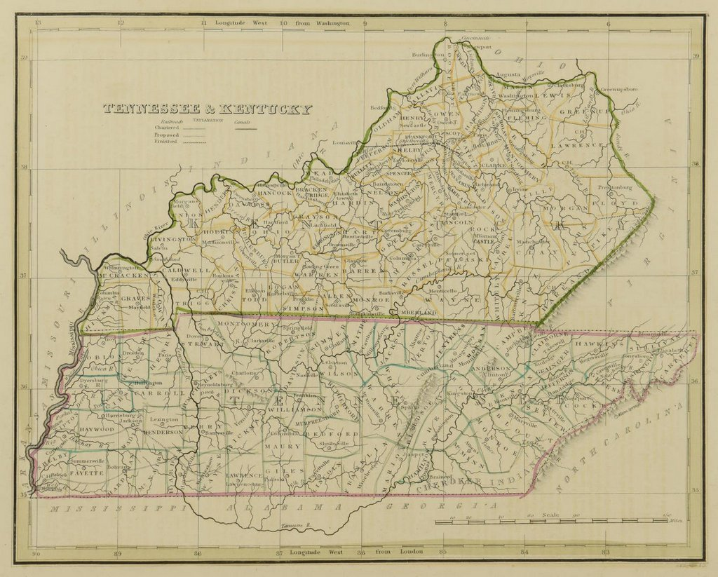 3 19th cent. Maps, 1 of TN and KY, 2 of TN - 3