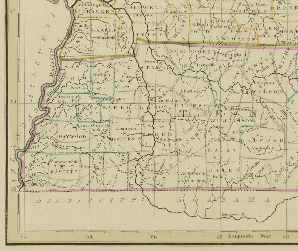 3 19th cent. Maps, 1 of TN and KY, 2 of TN - 8