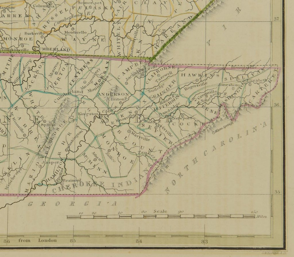 3 19th cent. Maps, 1 of TN and KY, 2 of TN - 9