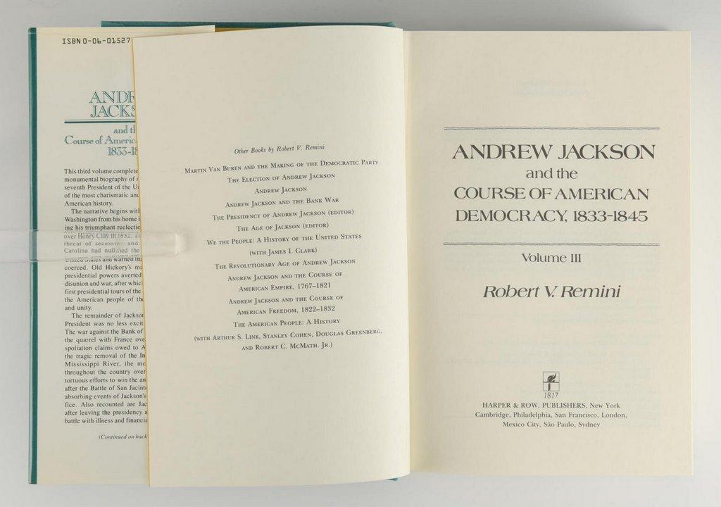 Remini, Andrew Jackson Bio 3 vols, Signed - 10