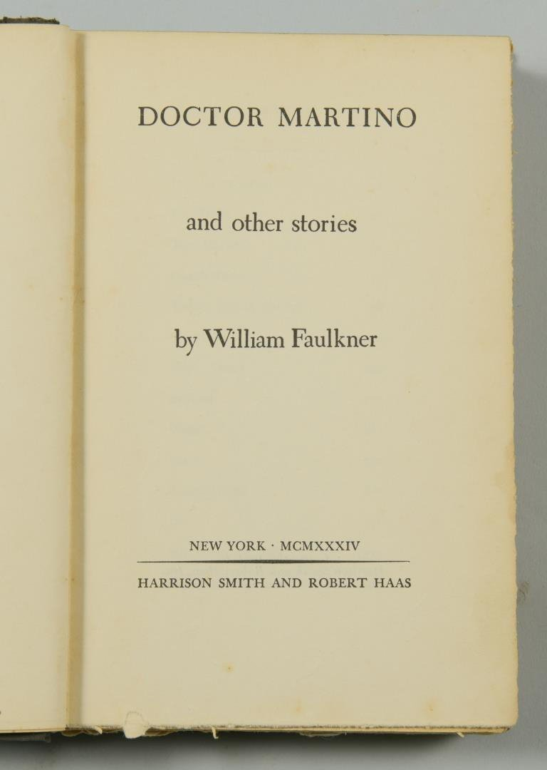 """Signed William Faulkner Book , """"Doctor Martino & Other - 5"""