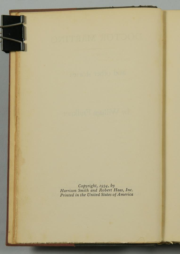 """Signed William Faulkner Book , """"Doctor Martino & Other - 6"""