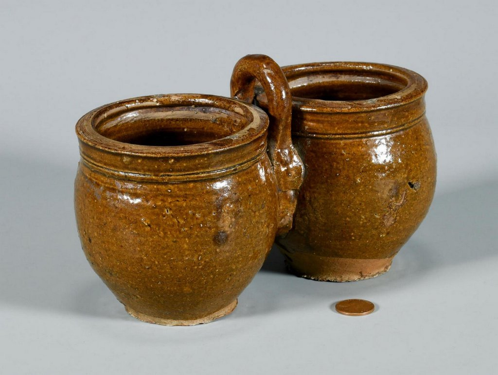 American Redware Double Jar w/ Handle