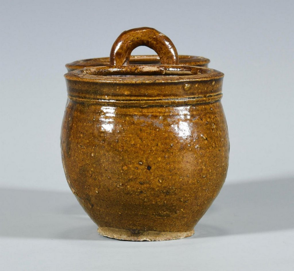 American Redware Double Jar w/ Handle - 6