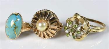 3 14K and 10K Vintage Ladies Rings
