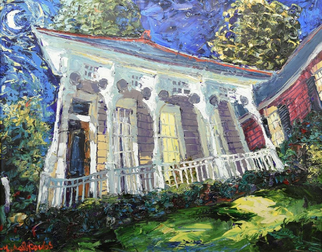 J. Michalopoulos O/C, New Orleans Cottage by Moonlight