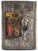 Russian Icon, Old Testament Trinity, hallmarked