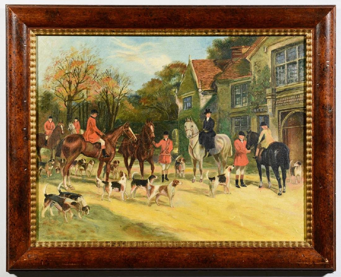 English Oil on Canvas Hunting Scene