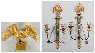 Pr. Eagle Wall Sconces & Carved Eagle