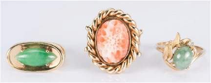 Group 14K Coral and Jade Rings