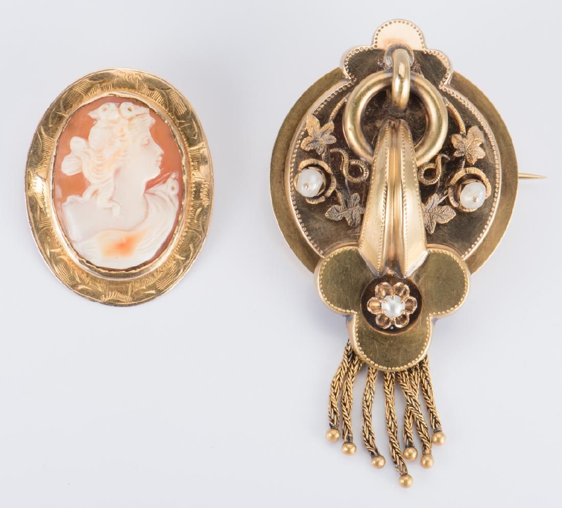 18K Victorian Brooch and 10K cameo