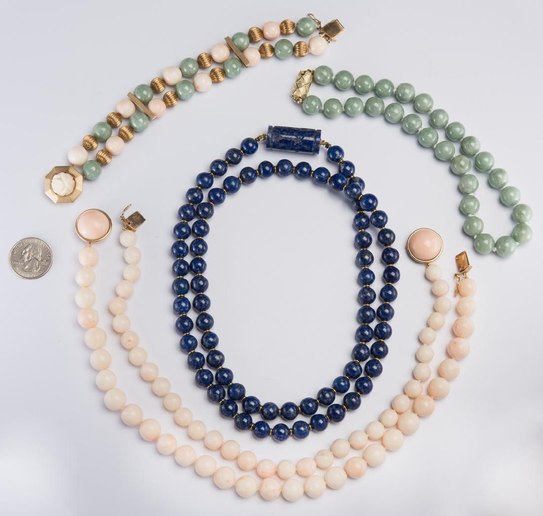 Group Gold Jade, Lapis, Coral Beads