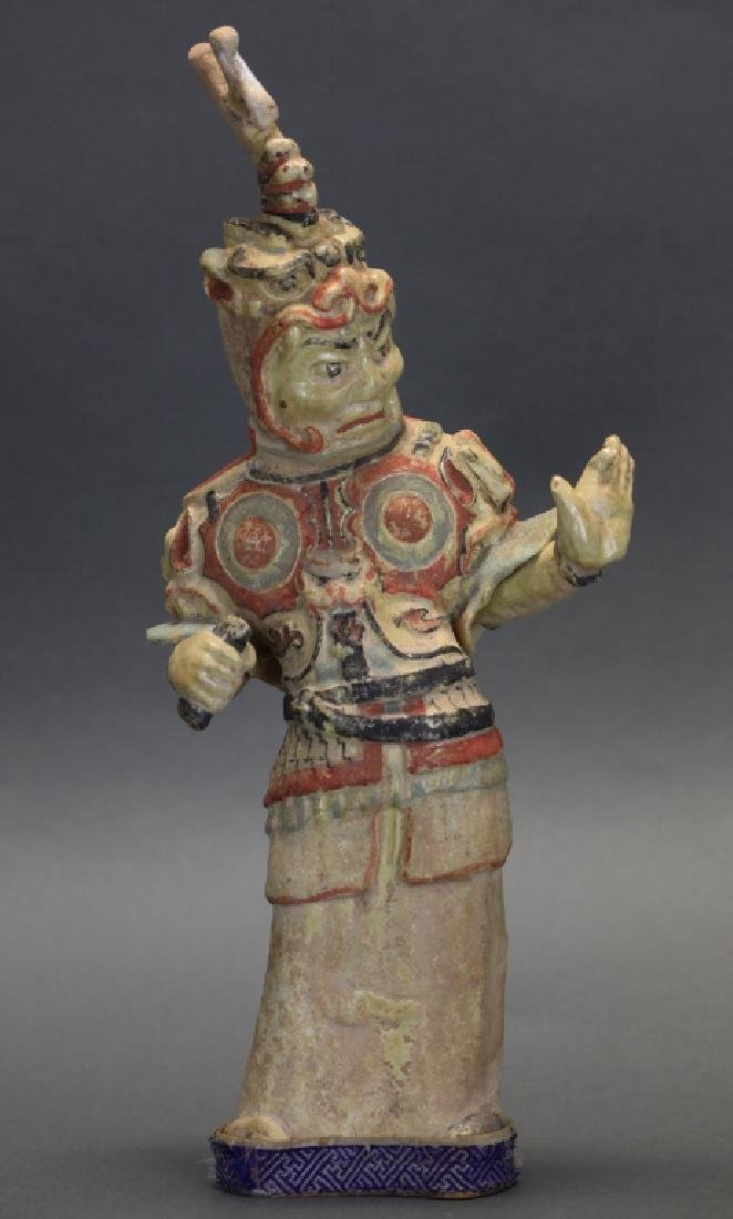 Chinese pottery figure of a warrior, Tang dynasty