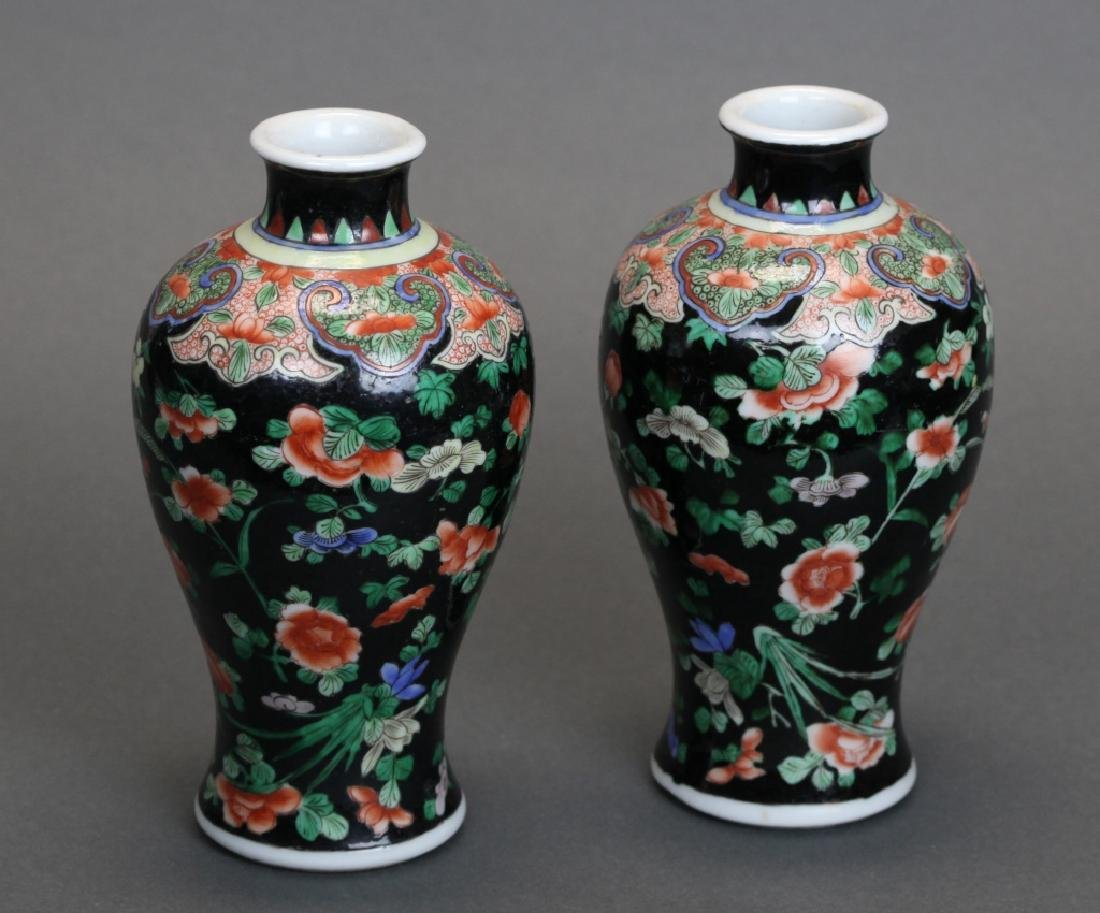 pair of Chinese famille noir meiping vases, Qing