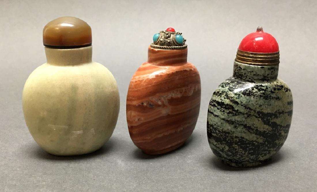 3 Chinese limestone snuff bottles