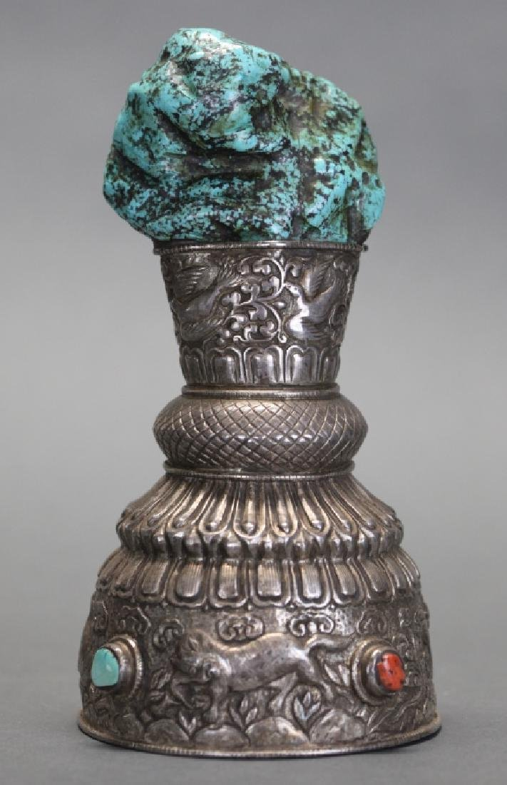 Chinese Tibetan silver and turquoise object