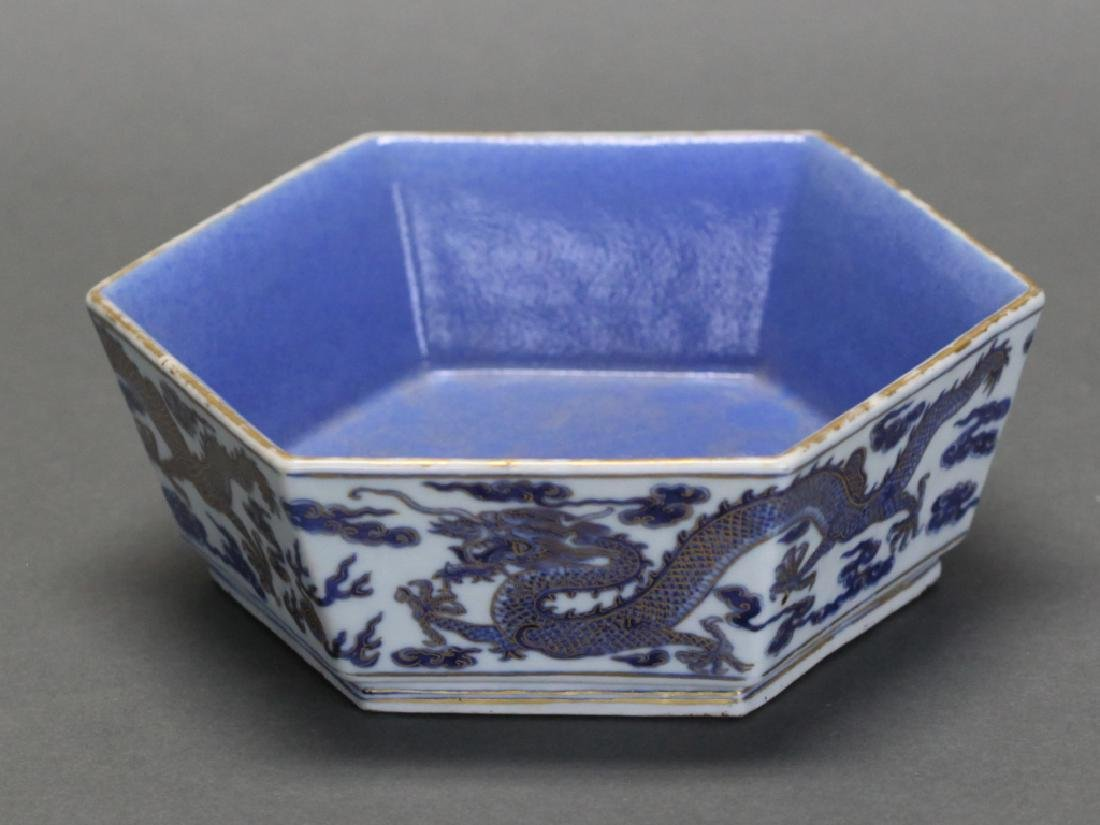 Chinese hexagonal porcelain bowl, Qing dynasty