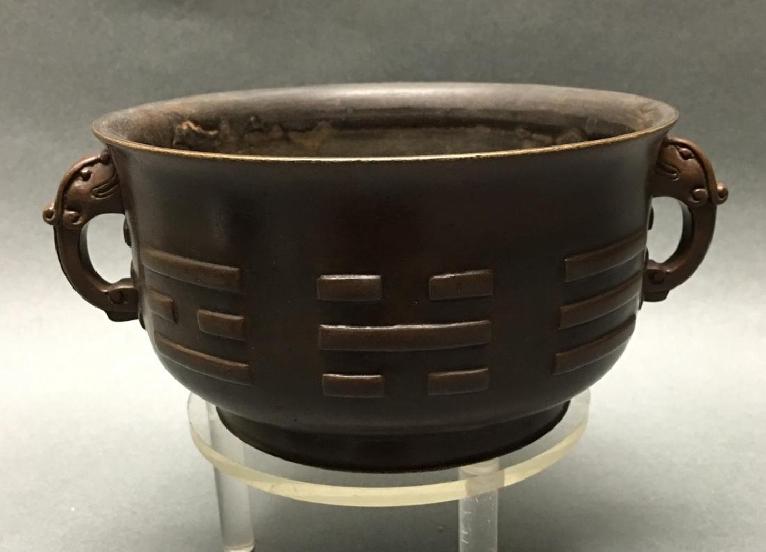 Chinese bronze two handled censer
